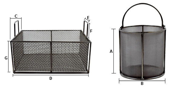 Wire Mesh Basket dimsensions